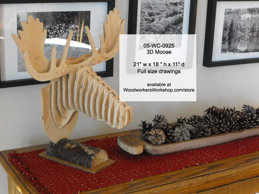 3D Moose Head Woodworking Pattern woodworking plan