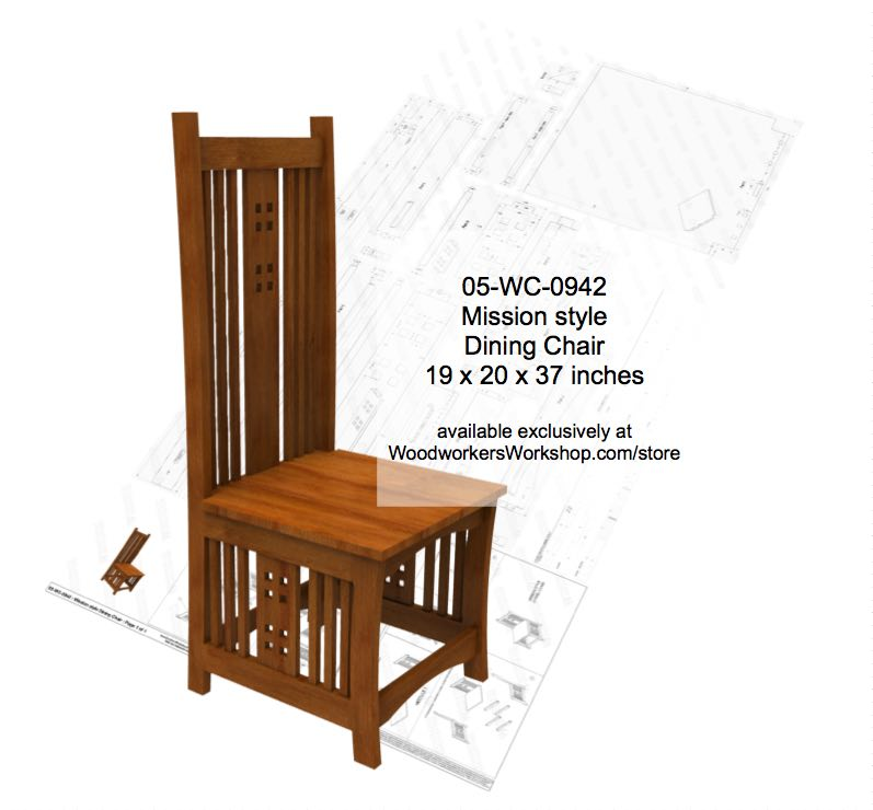 Mission style Dining Room Chair Full Size Woodworking Plan woodworking plan