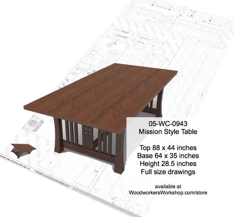 05-WC-0943 - Mission Style Dining Table Woodworking Plan