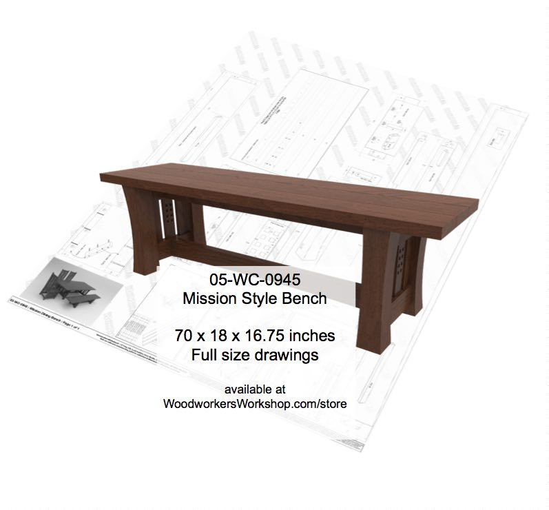 Mission style Bench Woodworking Plan.