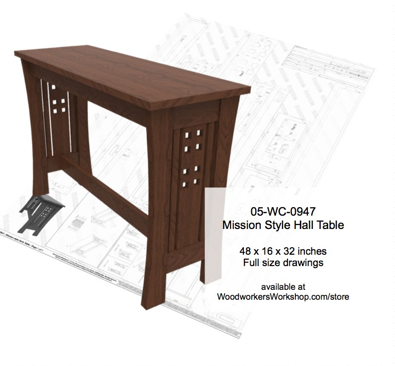 05-WC-0947 - Mission Style Sofa Table Woodworking Plan
