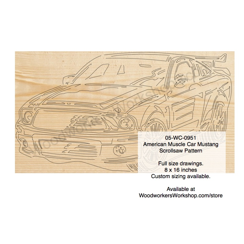 American Muscle Car Mustang Scrollsaw Woodworking Pattern