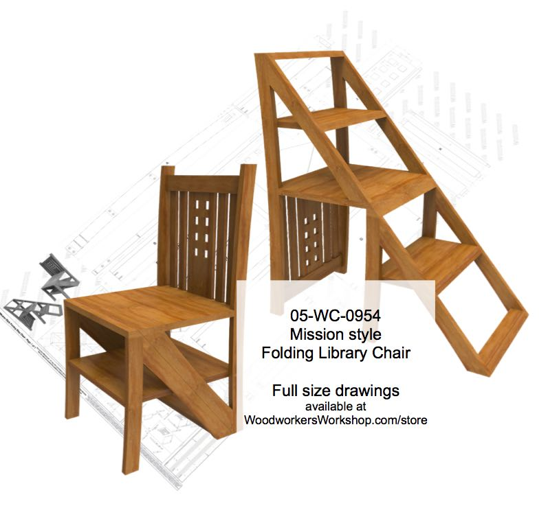 Mission style Folding Step Chair Woodworking Plan