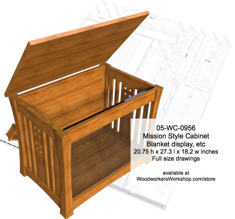 05-WC-0956 - Mission Style Display Cabinet Woodworking Plan