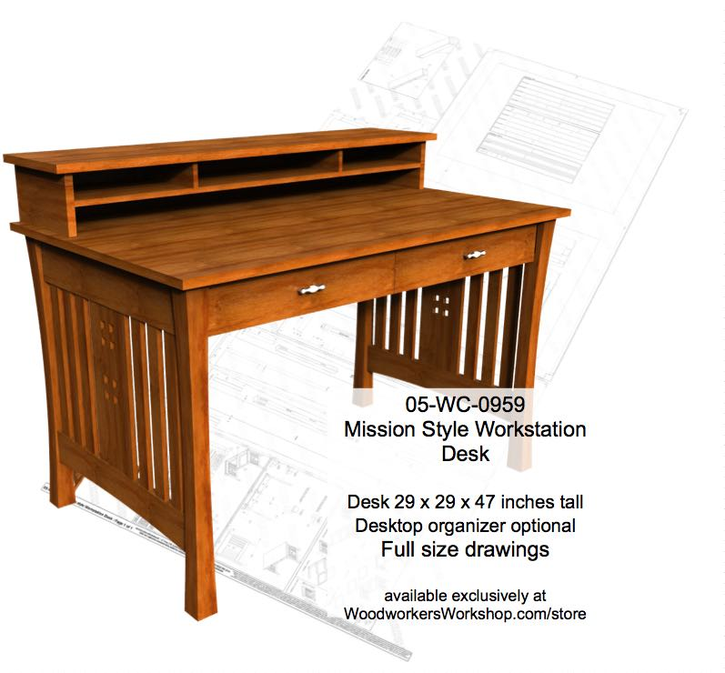 Mission style Workstation Desk Woodworking Plan woodworking plan