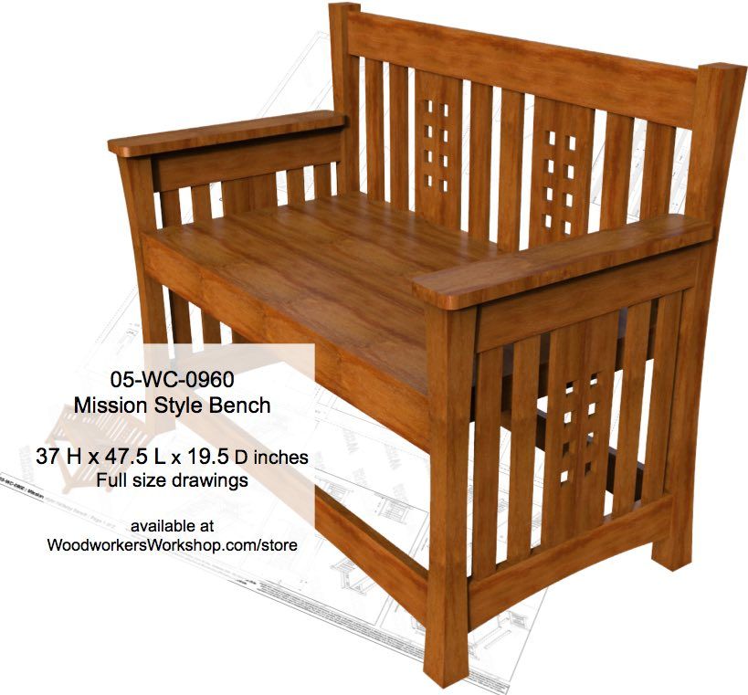 Mission style Bench Woodworking Plan