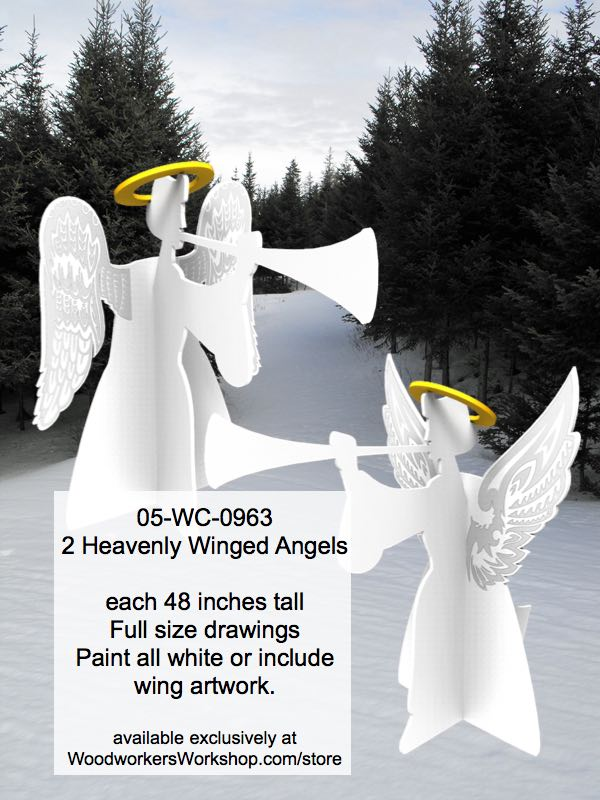 2 Heavenly Winged Angels Yard Art Full Size Woodworking Patterns woodworking plan