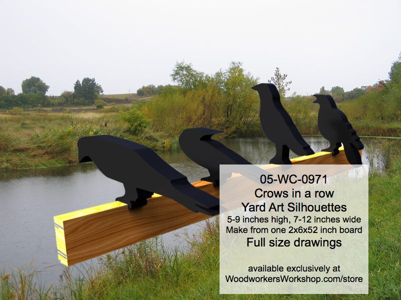 Crows in a row Yard Art Woodworking Pattern woodworking plan