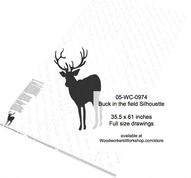 Buck in the field Silhouette Yard Art Woodworking Pattern woodworking plan