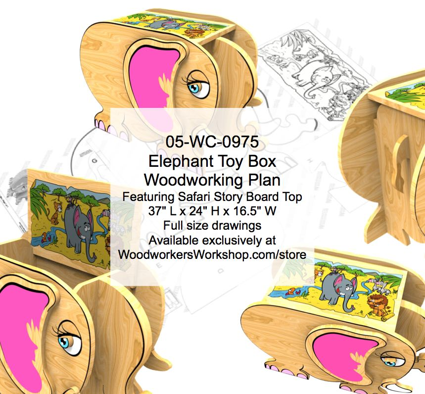OFFLINE Elephant Toy Box with Safari Story Board Woodworking Plan woodworking plan