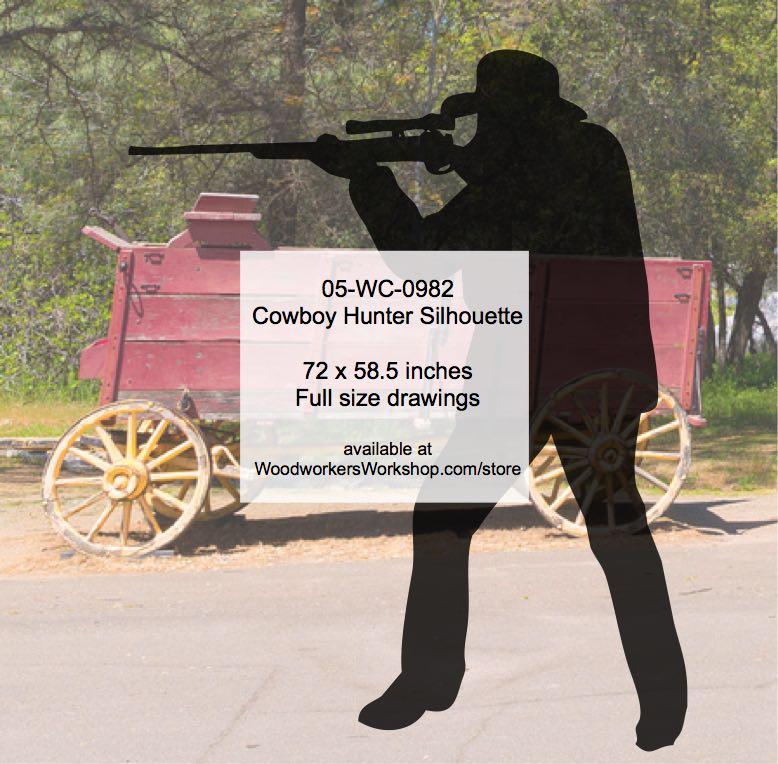 Cowboy Hunter Silhouette Yard Art Woodworking Pattern - WoodworkersWorkshop 5c3404fb04d7