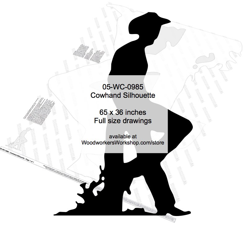 05-WC-0985 - Cowhand Resting Silhouette Yard Art Woodworking Pattern