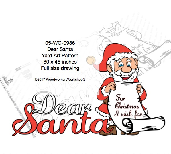 Dear Santa Large Yard Art Woodworking Pattern woodworking plan