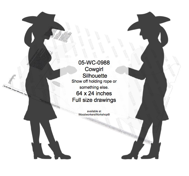 05-WC-0988 - Cowgirl Silhouette Yard Art Woodworking Pattern