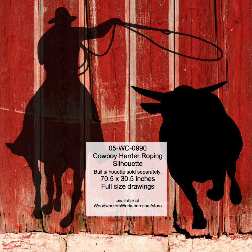 Cowboy Herder Roping Silhouette Yard Art Woodworking Pattern
