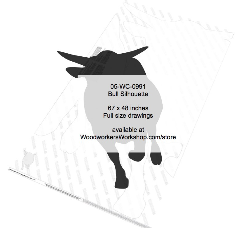 Bull Running Silhouette Yard Art Woodworking Pattern