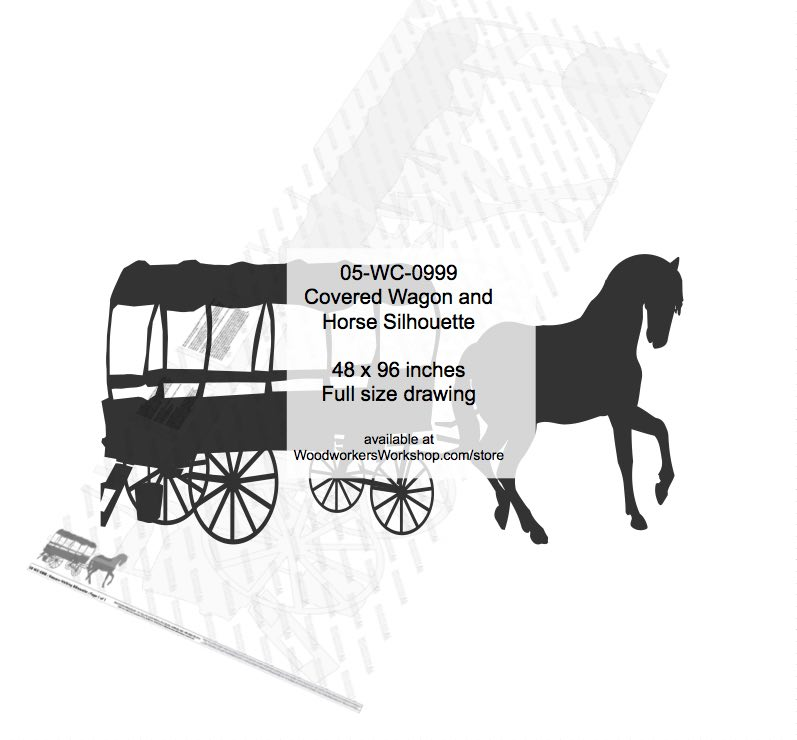 Covered Wagon and Horse Silhouette Yard Art Woodworking Pattern