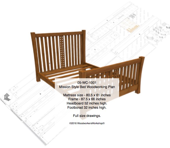 Mission style bed woodworking plan woodworkersworkshop for Mission style bed plans