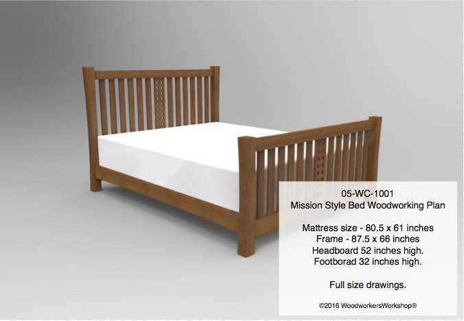 05-WC-1001 - Mission Style Bed Woodworking Plan