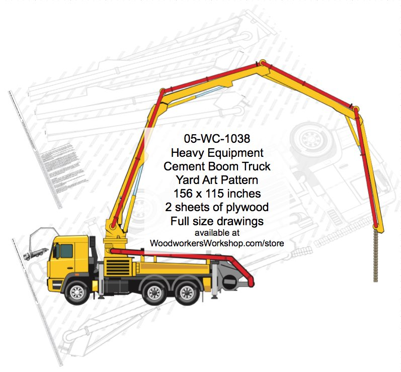 05-WC-1038 - Heavy Equipment Cement Boom Truck Yard Art Woodworking Plan