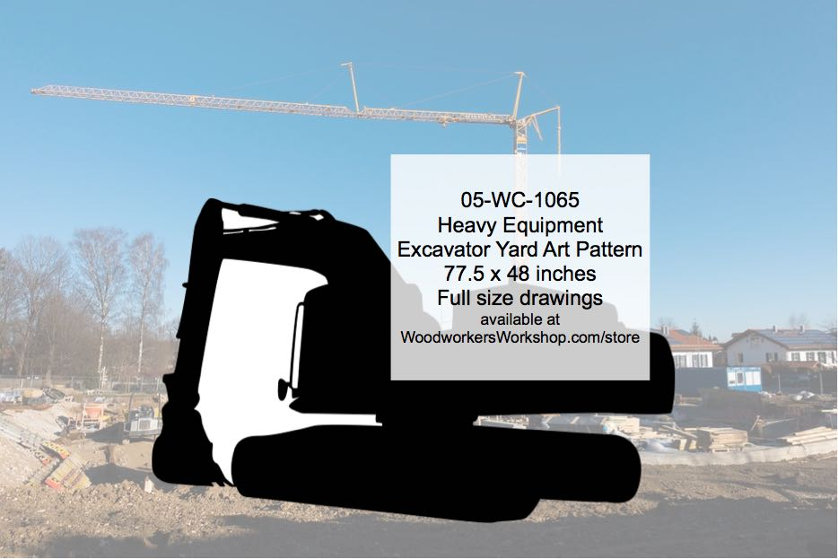 Heavy Equipment Excavator Yard Art Woodworking Pattern