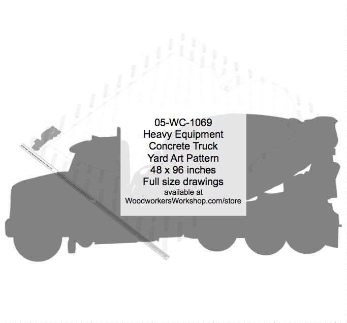 05-WC-1069 - Heavy Equipment Concrete Truck Yard Art Silhouette Woodworking Pattern