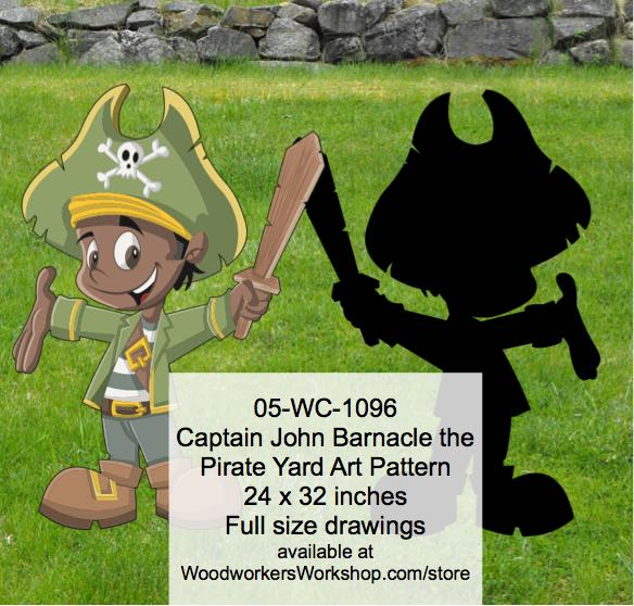 Captain John Barnacle the Pirate Yard Art Woodworking Pattern woodworking plan