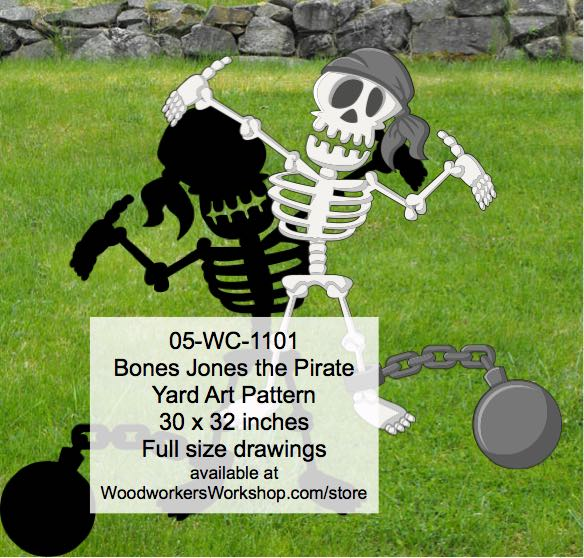 Bones Jones the Pirate Yard Art Woodworking Pattern