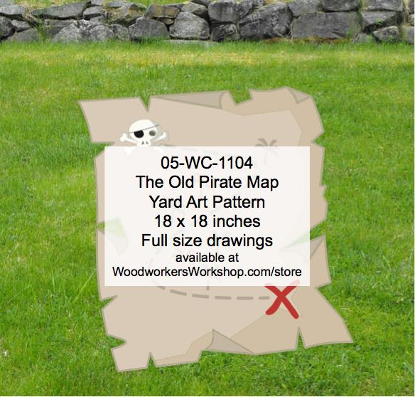 05-WC-1104 - The Old Pirate Map Yard Art Woodworking Pattern