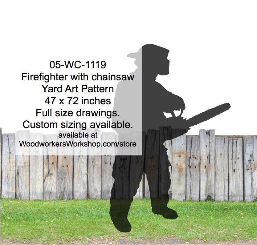 05-WC-1119 - Firefighter with chainsaw Silhouette Yard Art Woodworking Pattern