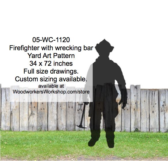 05-WC-1120 - Firefighter with wrecking bar Silhouette Yard Art Woodworking Pattern