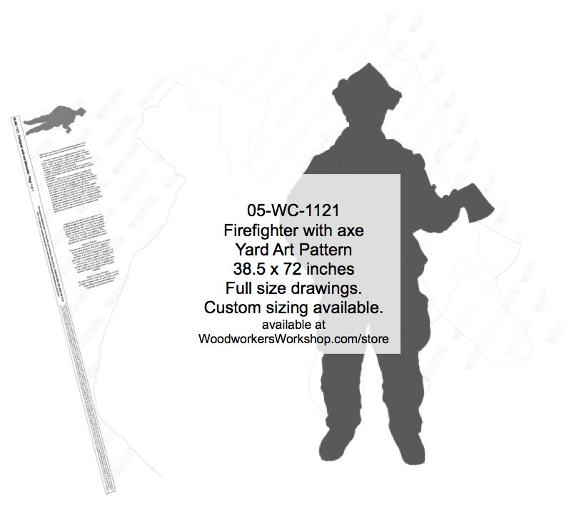 Firefighter with axe Silhouette Yard Art Woodworking Pattern