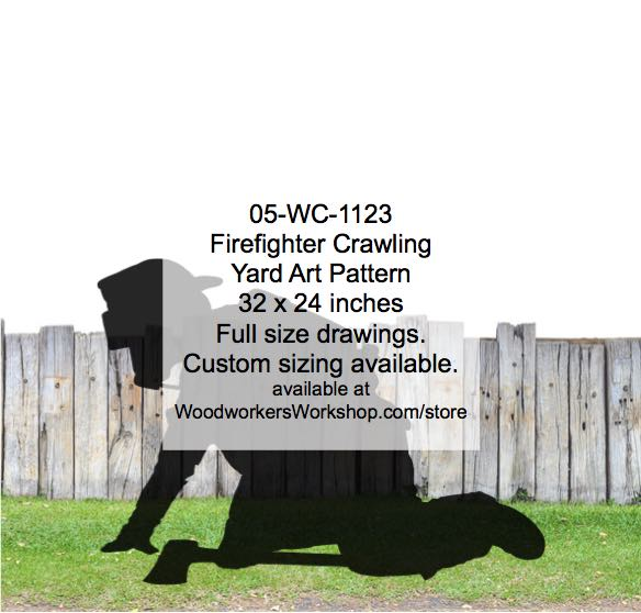 Firefighter Crawling silhouette Yard Art Woodworking Pattern woodworking plan