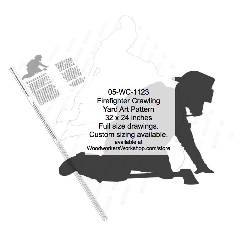 05-WC-1123 - Firefighter Crawling silhouette Yard Art Woodworking Pattern