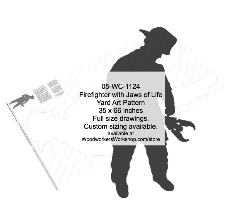 Firefighter with Jaws of Life Silhouette Yard Art Woodworking Pattern
