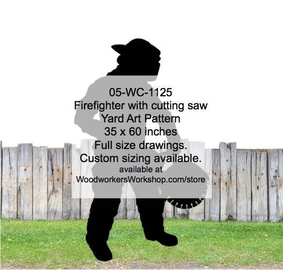 05-WC-1125 - Firefighter with cutting saw Silhouette Yard Art Woodworking Pattern