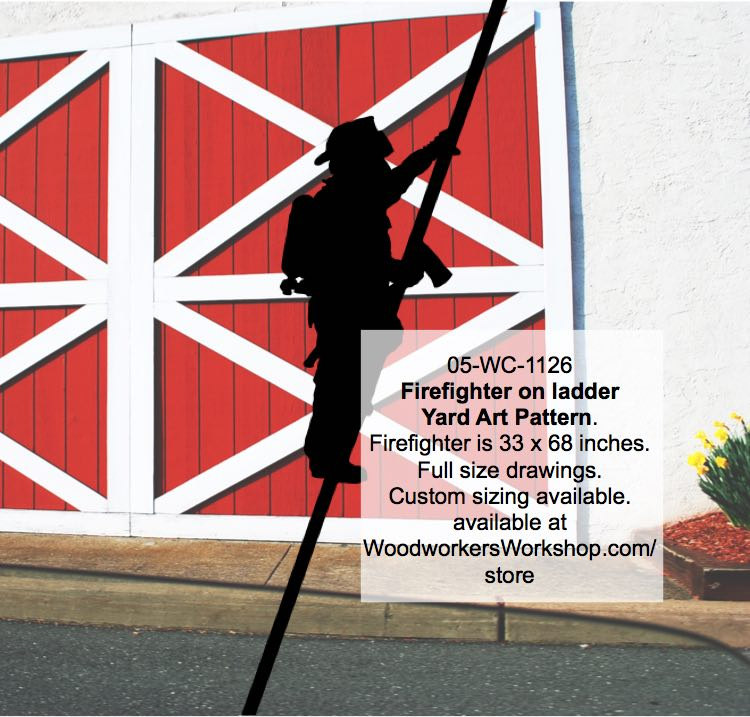 Firefighter on ladder Silhouette Yard Art Woodworking Pattern woodworking plan