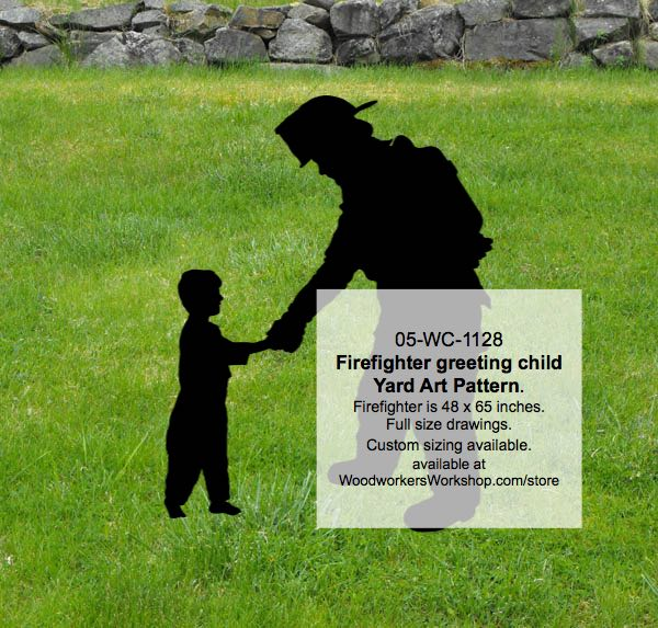 Firefighter greeting child Yard Art Woodworking Pattern woodworking plan