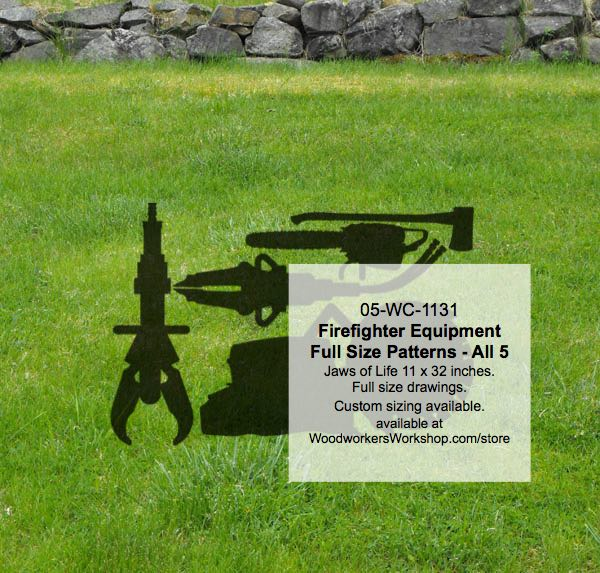Firefighting Equipment Silhouettes Yard Art Woodworking Pattern