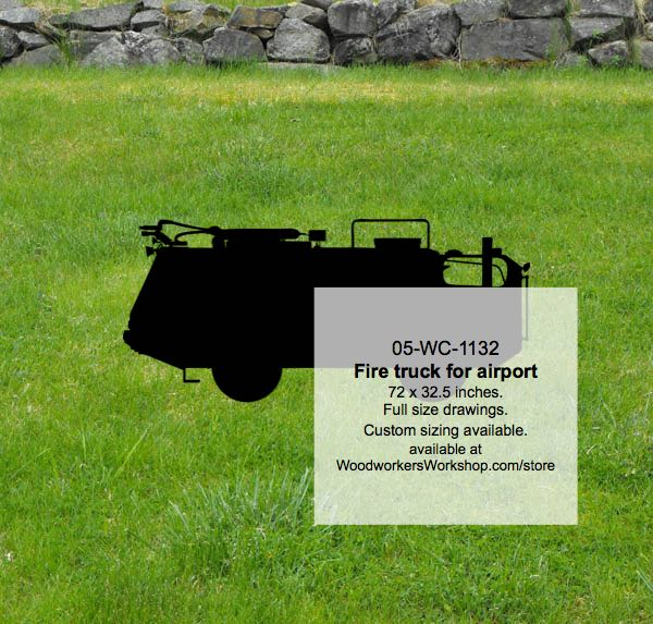 05-WC-1132 - Fire Truck for Airport Silhouette Yard Art Woodworking Pattern