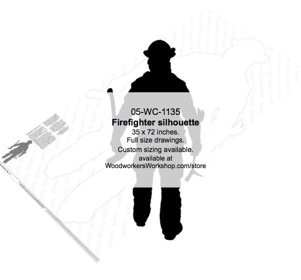 05-WC-1135 - Firefighter Silhouette Yard Art Woodworking Pattern