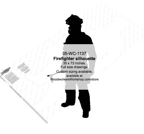 05-WC-1137 - Firefighter Silhouette Yard Art Woodworking Pattern