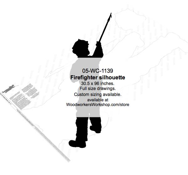 05-WC-1139 - Firefighter Silhouette Yard Art Woodworking Pattern
