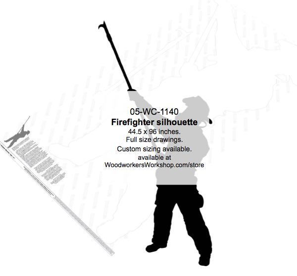 05-WC-1140 - Firefighter Silhouette Yard Art Woodworking Pattern