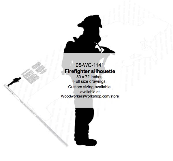 05-WC-1141 - Firefighter Silhouette Yard Art Woodworking Pattern
