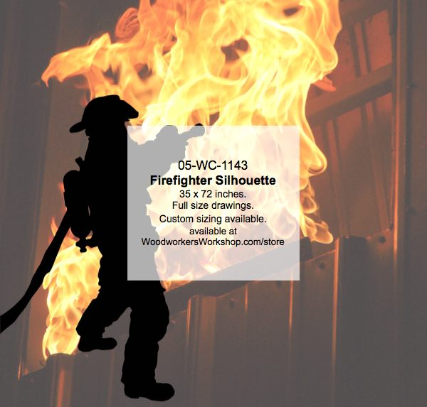 05-WC-1143 - Firefighter Silhouette Yard Art Woodworking Pattern