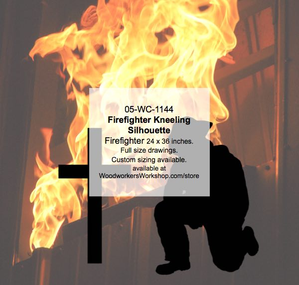Firefighter Kneeling Silhouette Yard Art Woodworking Pattern woodworking plan