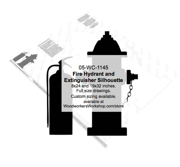 05-WC-1145 - Fire Hydrant and Extinguisher Silhouette Woodworking Pattern