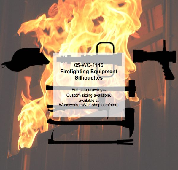 Firefighting Equipment Silhouettes Woodworking Pattern