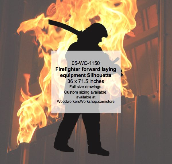 Firefighter forward laying equipment Silhouette Woodworking Pattern